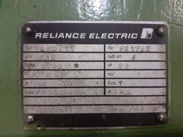 Motor Reliance Electric 1.12 KW 3000 RPM